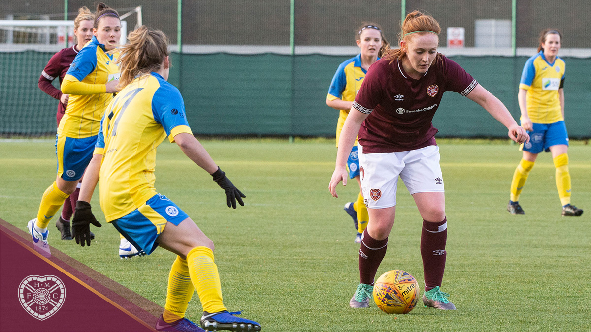 Lauren Evans takes on the St Johnstone defence (Pic: Ron MacNeill)