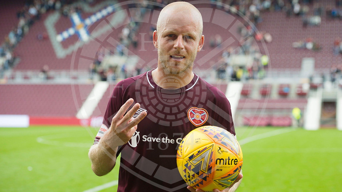 Hat-trick hero Naisy with the match ball
